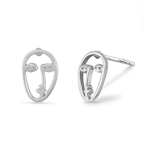 Picasso Artist's Face Stud Earrings - Boma Life Sterling Silver