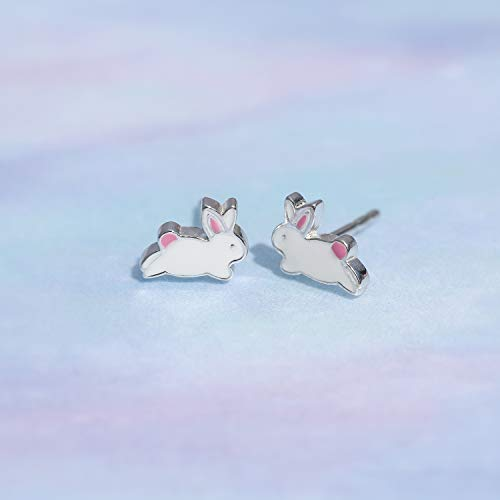 White Bunny Rabbit Stud Earrings - Boma Life Sterling Silver