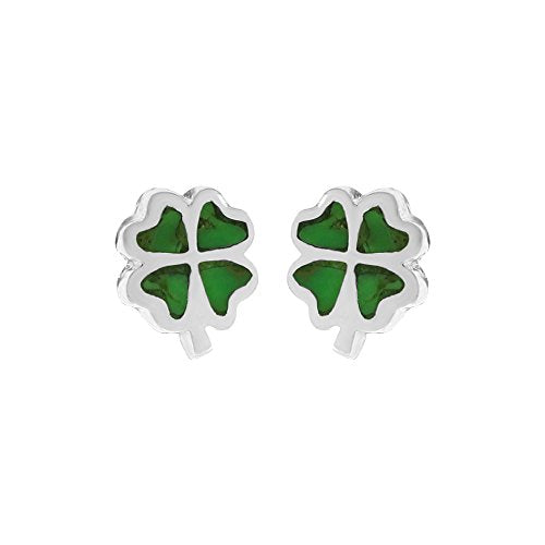 Green Turquoise Four Leaf Clover Stud Earrings - Boma Life Sterling Silver