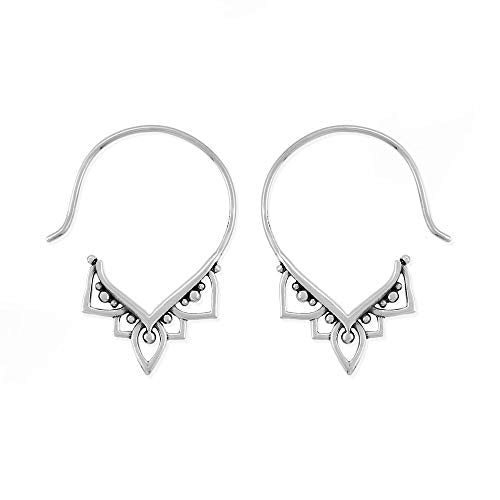 Bohemian Pull Through Hoop Earrings - Boma Life Sterling Silver