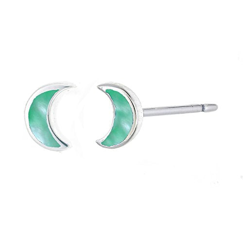 Green Mother of Pearl Crescent Moon Stud Earring - Boma Life Sterling Silver
