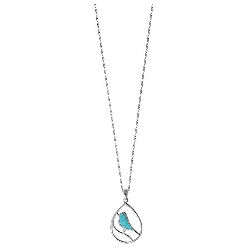 Turquoise Bird Necklace - Boma Life Sterling Silver