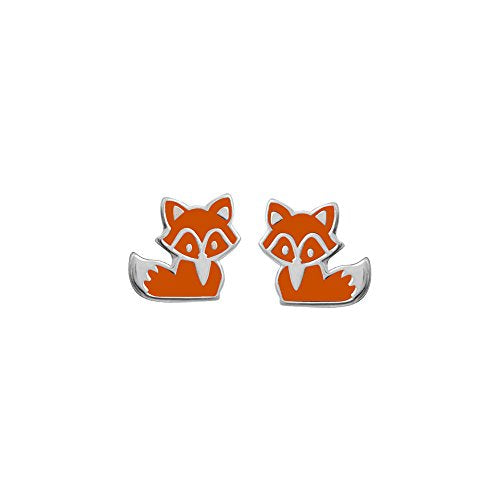 Orange Fox Stud Earrings - Boma Life Sterling Silver