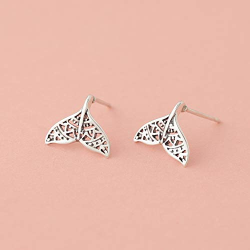 Tribal Whale Tail Stud Earrings - Boma Life Sterling Silver