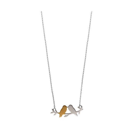 Love Birds 18K Gold Washed Necklace - Boma Life Sterling Silver