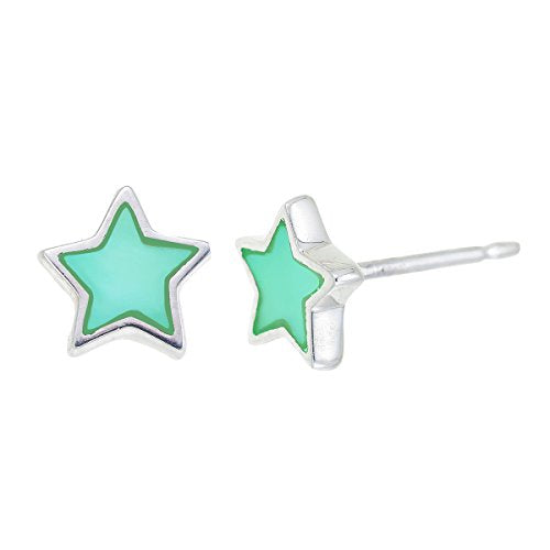 Green Mother Of Pearl Star Stud Earrings - Boma Life Sterling Silver