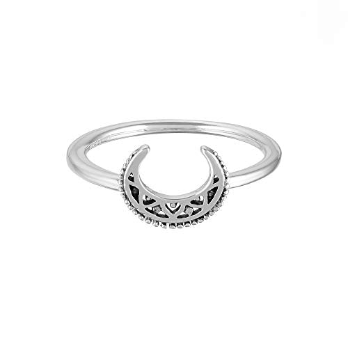 Bohemian Crescent Moon Ring - Boma Life Sterling Silver