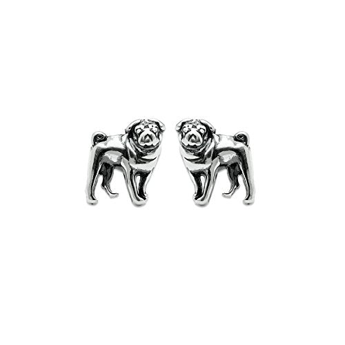 Pug Dog Stud Earrings - Boma Life Sterling Silver
