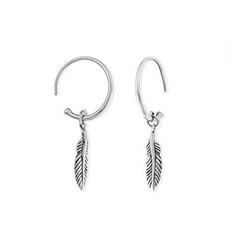 Feather Drop Pull Through Hoop Earrings - Boma Life Sterling Silver