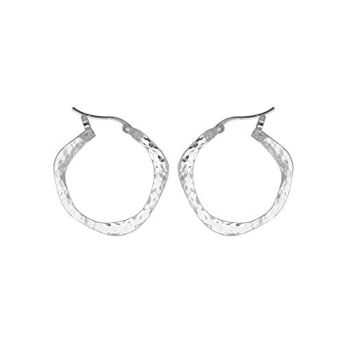 Organic Hammered Hoop Earrings - Boma Life Sterling Silver