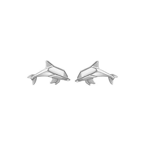 Origami Dolphin Stud Earrings - Boma Life Sterling Silver
