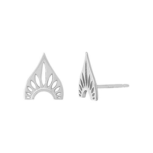 Bohemian Shield Stud Earrings - Boma Life Sterling Silver