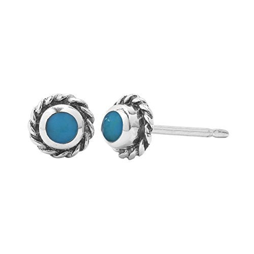 Turquoise Circle Rope Stud Earrings - Boma Life Sterling Silver