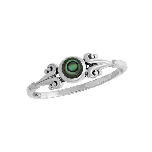 Scrolling Abalone Circle Ring - Boma Life Sterling Silver
