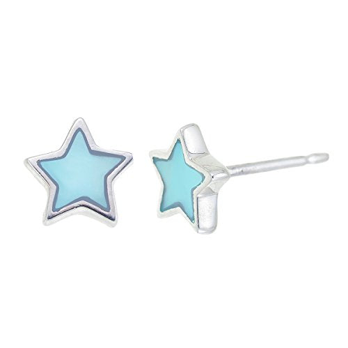 Blue Mother Of Pearl Star Stud Earrings - Boma Life Sterling Silver