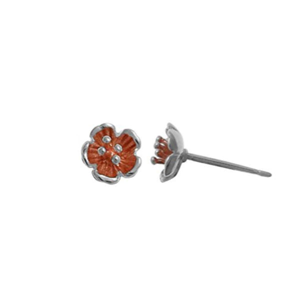 Flower 18K Rose Gold Washed Studs Earrings - Boma Life Sterling Silver
