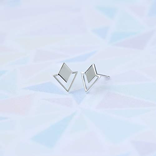 Geometric Diamond & Triangle Stud Earrings - Boma Life Sterling Silver