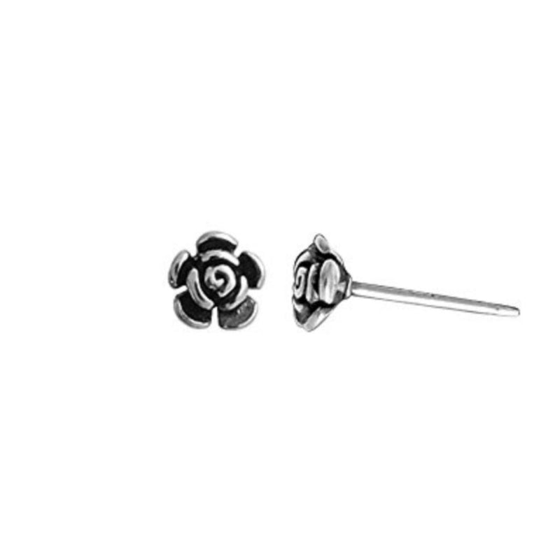 Rose Bud Stud Earrings - Boma Life Sterling Silver