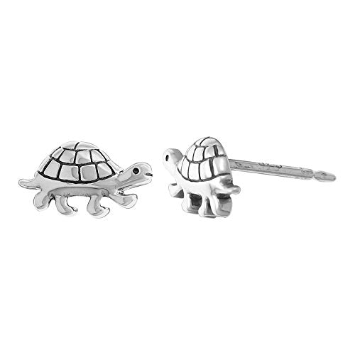 Turtle Stud Earrings - Boma Life Sterling Silver