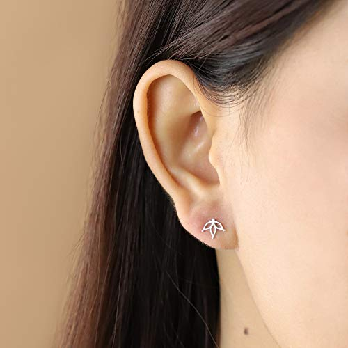 Lotus Flower Stud Earrings - Boma Life Sterling Silver