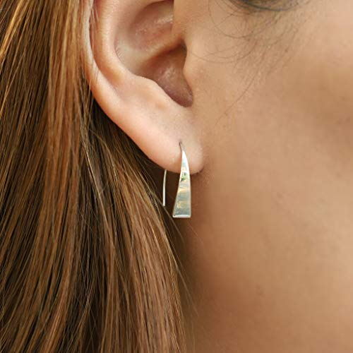 Triangle Pull Through Hoop Earrings - Boma Life Sterling Silver