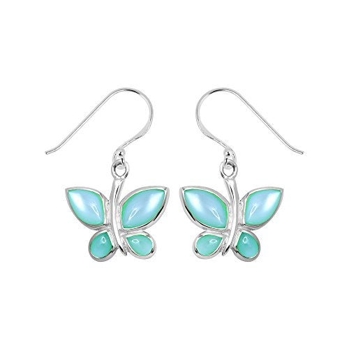 Green Mother of Pearl Butterfly Earrings - Boma Life Sterling Silver