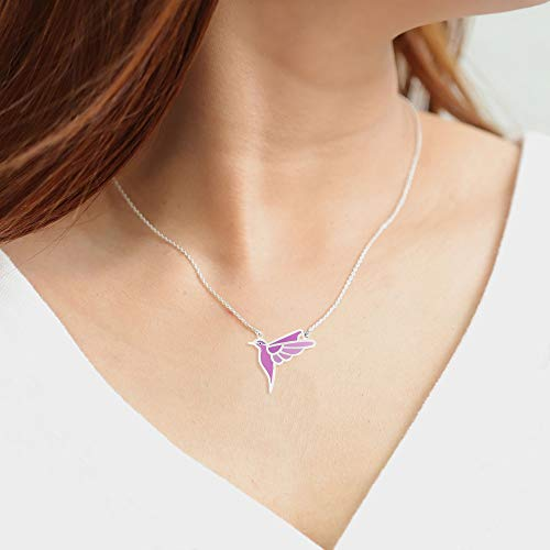 Flying Purple Bird Necklace - Boma Life Sterling Silver