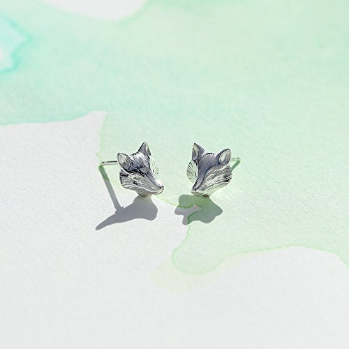 Fox Head Stud Earrings - Boma Life Sterling Silver