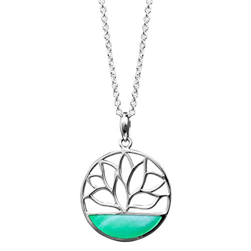 Green Mother of Pearl Lotus Flower Necklace - Boma Life Sterling Silver