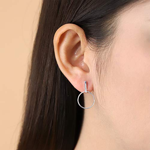 Geometric Drop Hoop Post Earrings - Boma Life Sterling Silver