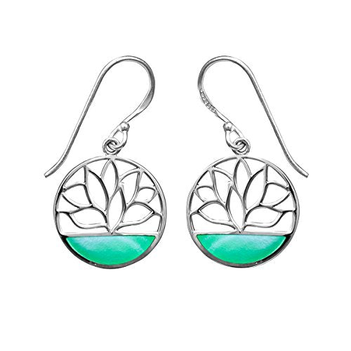 Green Mother of Pearl Lotus Flower Earrings - Boma Life Sterling Silver