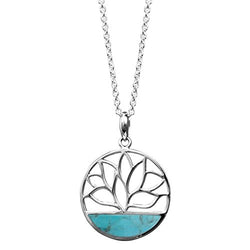Turquoise Lotus Flower Necklace - Boma Life Sterling Silver