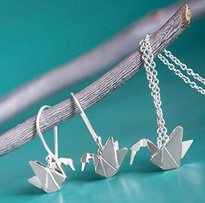 Origami Crane Stud Necklace - Boma Life Sterling Silver