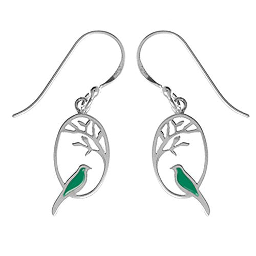 Kelly Green Bird Earrings - Boma Life Sterling Silver