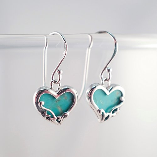 Turquoise Filigree Heart Earrings - Boma Life Sterling Silver