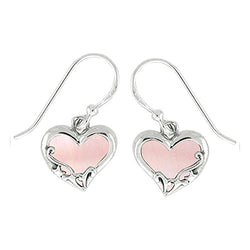 Pink Shell Filigree Heart Earrings - Boma Life Sterling Silver
