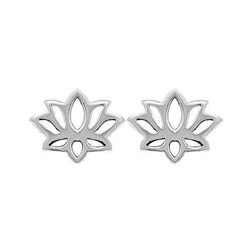 Lotus Blossom Flower Stud Earrings - Boma Life Sterling Silver