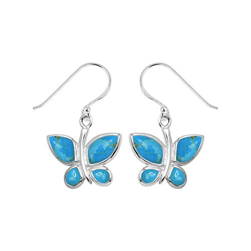 Turquoise Butterfly Earrings - Boma Life Sterling Silver
