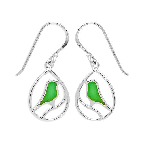 Green Turquoise Bird Earrings - Boma Life Sterling Silver