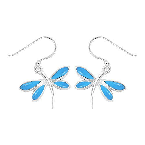Turquoise Dragonfly Earrings - Boma Life Sterling Silver