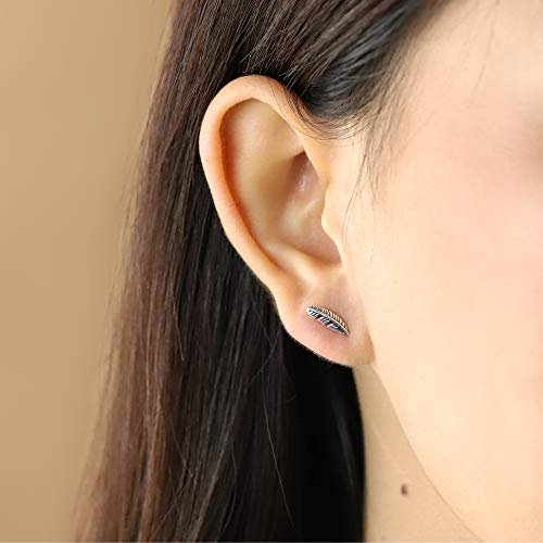 Feather Stud Earrings - Boma Life Sterling Silver