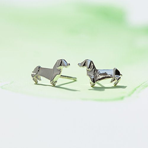 Origami Dachshund Wiener Dog Stud Earrings - Boma Life Sterling Silver