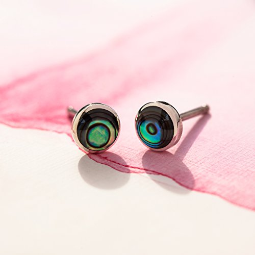Essential Abalone Circle Stud Earrings - Boma Life Sterling Silver