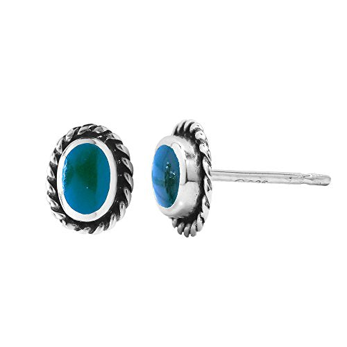 Turquoise Oval Rope Stud Earrings - Boma Life Sterling Silver