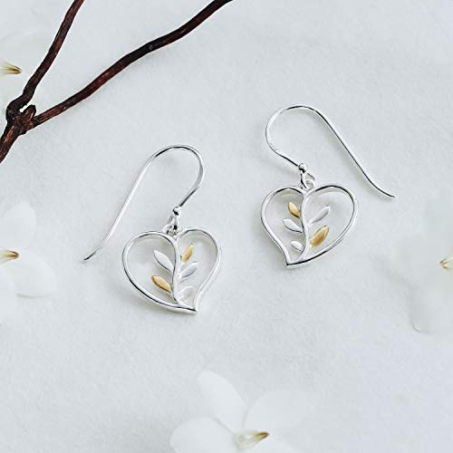 Heart & Vine Earrings with 14 K Gold Vermeil - Boma Life Sterling Silver