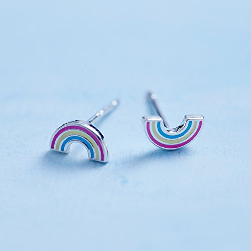 Rainbow Stud Earrings - Boma Life Sterling Silver