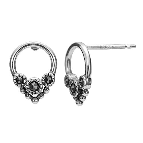 Open Circle Pointed Marcasite Stud Earrings - Boma Life Sterling Silver