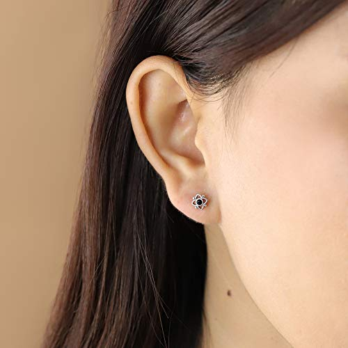 Onyx Flower Shaped Dot Stud Earring - Boma Life Sterling Silver