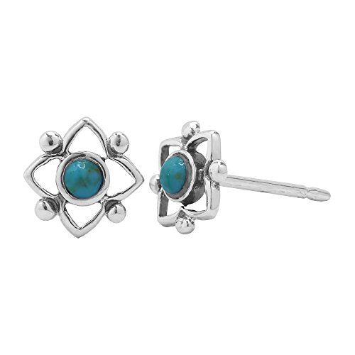 Turquoise Flower Shaped Dot Stud Earring - Boma Life Sterling Silver