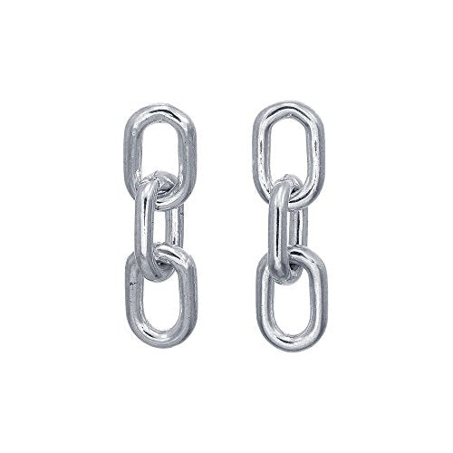 Chain Link Stud Earrings - Boma Life Sterling Silver